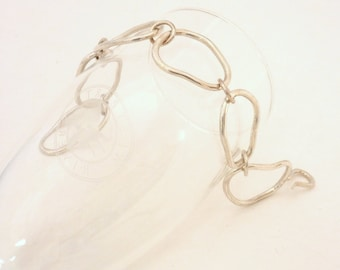 Pebble Links Sterling Silver Hand Made Bracelet, Free Form Links, Hand Crafted Jewelry