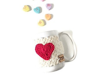 Valentine's Cozy, Heart Coffee Cup Cozy, Crochet Cup Cozy, Coffee Cup Warmer, Sweethearts Mug Cozy, Mug Warmer, Valentine's Day Gift