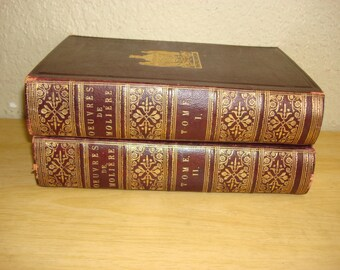 """1884 """"Oeuvres De Moliere"""" 2 Volumes, Antique Full Leather, Ornate French Books, Works of Comedy, Illustrated"""