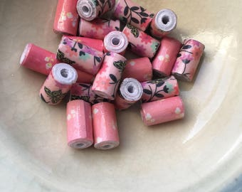 Butterflies and Flowers Hand Rolled Paper Tube Beads 1/2 Inch: Set of 20