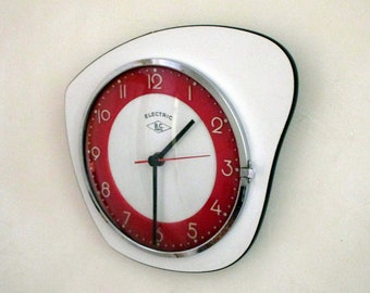 French 1950s Bright White and Cherry Red Atomic Age B.C. PARIS -  Formica Wall Clock - Funky Shape - Good Working Condition