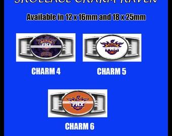 PHOENIX SUNS Shoelace Charm  Paracord Bracelet Charm Oval Charm 12 x 16mm or 18 x 25mm Charms