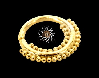 Gold Nose Ring - Gold Nose Hoop - Indian Nose Ring - Tribal Nose Ring - Nose Jewelry - Nose Piercing - Nostril Ring - Nostril Jewelry NL14GP