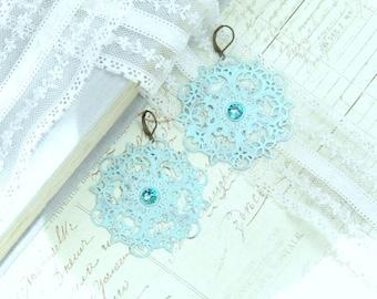 Aqua Dangle Earrings Large Blue Earrings Filigree Earrings Extra Large Earrings Bohemian Earrings