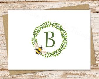 personalized bee stationery, note cards . bee wreath notecards . initial, monogram . folded card . stationary.  teacher . set of 8