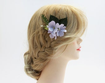 Small Purple Hydrangea Flower Hair Comb - Hair Flowers - Paper Flowers - Bridesmaid Flowers