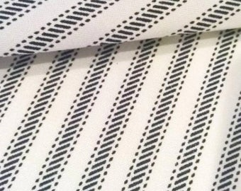 Charcoal Ticking Stripe Fabric by the Yard Designer Cotton Ticking Home Decor Fabric Drapery Curtain or Upholstery Fabric Black Ticking C342