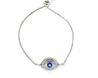 Evil Eye Bracelet - Evil Eye Bangle - Evil Eye Focal Bracelet - Easy Adjustable Chain Bracelet in FREE Gift Box - Pull Chain Bracelet