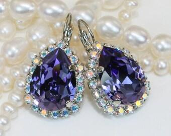 Purple Swarovski Crystal Drop Earrings Teardrop Earrings Tanzanite Purple AB Halo Bridesmaids Earrings Purple Wedding,Silver,Tazanite,SE101