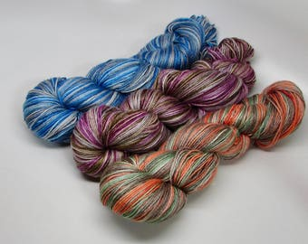 Blue Faced Leicester Wool SW 55/Silk 45 Hand dyed DK weightThree color choices