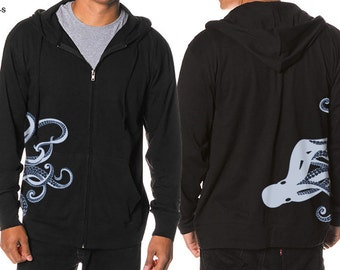 Octopus Hoodie, Kraken screen print, Octopus Steampunk Hoodie, JERSEY, Cool Art Hoodie