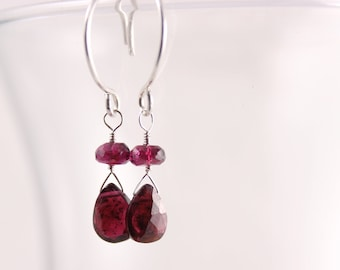Garnet Earrings, Pear Briolette Drop with Rondelle, Argentium Silver