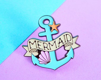 Blue Mermaid Pin Badge - Nautical Anchor Accessory - Soft Enamel Pin Game - Seaside Brooch