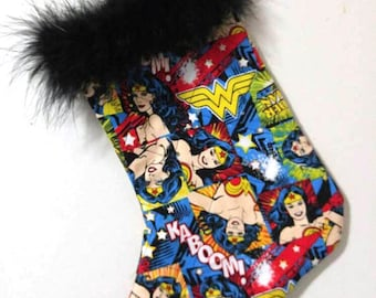 DC Comics Wonder Woman Comic Word Christmas Holiday Quilted Stocking