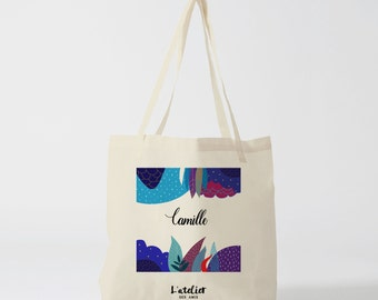 W39Y Tote bag name jungle cotton tote bag, bag, gift for bridesmaid, gift for wedding, tote bag, diaper bag