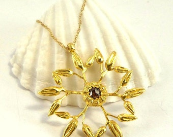 Snowflake Pendant - Gold Necklace - 18K Gold Necklace - Diamond Necklace - Seeds Collection - Free Shipping!!!