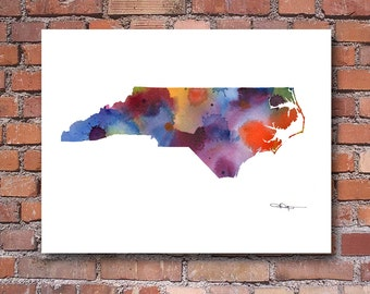 North Carolina State Map Art Print - Abstract Watercolor Painting - Wall Decor
