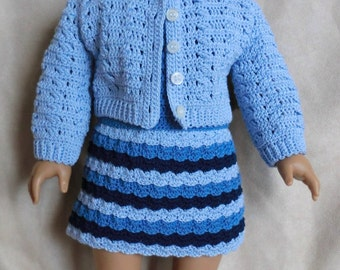 225 Shades of Blue Outfit - Crochet Pattern for American Girl Dolls