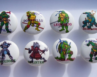 8 set Teenage mutant ninja turtles TMNT WITH  NAMES boys kids mtm bedding Dresser Drawer Knobs