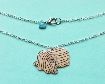 Reversible striped pyjama Squid Cuttlefish charm unusual cephalopod pendant necklace is the perfect gift for any marine biologist or diver