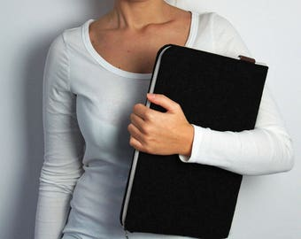 FELT LAPTOP SLEEVE 03 black with white zipper MacBook cover made to order all sizes notebook sleeves