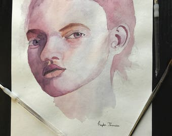 Watercolor Portrait female on 140lb Watercolor coldpress paper approx 14x11 in.