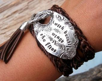 Personalized Jewelry, Personalized Bracelet, Personalized Leather Wrap Bracelet, Personalized Silver Jewelry, Personalized Wrap Bracelet