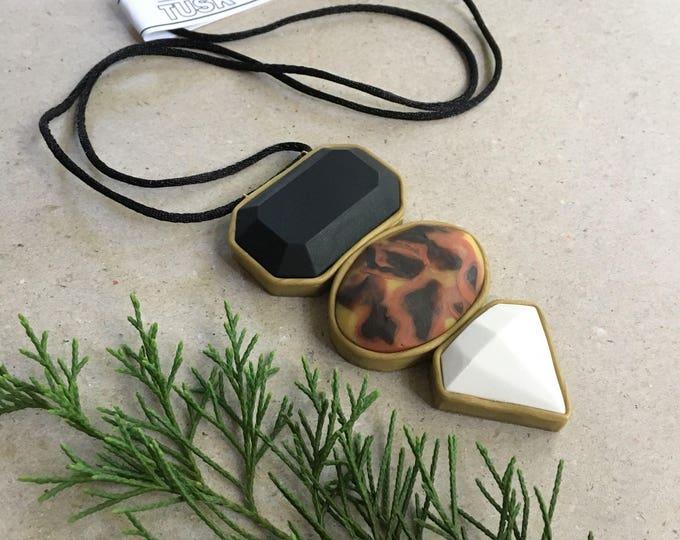 TORTOISE STACK NECKLACE// Polymer clay, tortoiseshell , black and white statement pendant// handmade, geometric, hypoallergenic,pendant