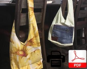 Cross Body Tote Bag Pattern | Tote Bag Sewing Pattern | Pocket Market Bag | Canvas Bag Pattern | Bag Pattern | Easy Bag