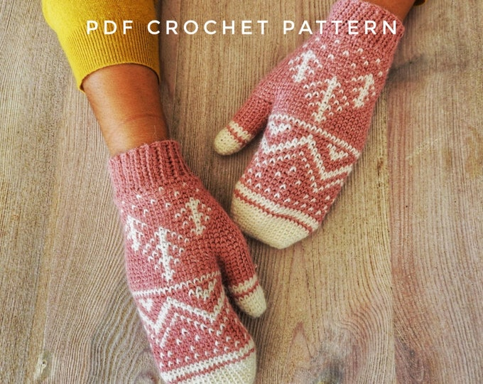 Featured listing image: Winter Mountain Mittens Crochet Pattern