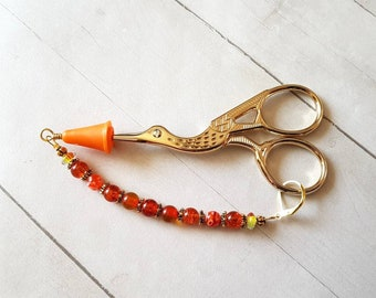 Crane Scissors w/Beaded Fob with Point Protector -Orange -Red -Goldtone -Yarn Snips -Cross Stitch -Needlework -Embroidery Scissors -Bird