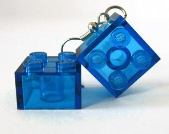Drop Earrings, Block Earrings, Transparent Earrings, Geeky Jewelry, Blue Earrings, Square Earrings, Minimal Earrings, Geometric Earrings