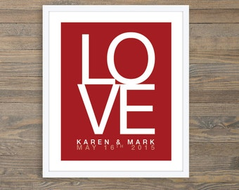 Wedding Anniversary Print Personalized Art Print - LOVE Custom Wedding Poster - Valentines Day Gift - First Year Anniversary Paper Gift
