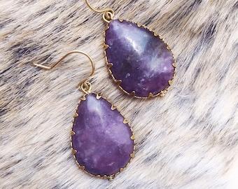 Lepidolite Teardrop Earrings   drop earrings   purple earrings   purple stone   lepidolite jewelry