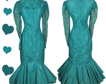 Vintage 80s Dress / 80s Prom Dress / 80s Party Dress / S SMALL Mermaid Skirt Full Blue Green Teal Lace Long Sleeves Pinup Bombshell Dance