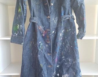 denim coat dress to paint in -  size L