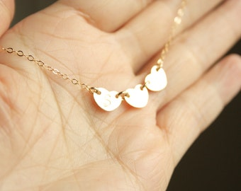 Super Sweet Three Initials Heart Necklace All Gold Filled , Simple daily mom's jewelry, with Option to choose Materials and Number of Heart