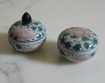 Pair of Thai Ceramic Ring Trinket Dishes with Lids