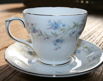 Duchess - Tranquillity - English teacup and saucer - blue forget me nots