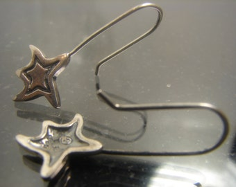 Sterling Silver Star Dangle Earrings Unique Stars 1089