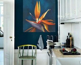 Bird-of-Paradise Flower Painting - Bright Colorful Teal Background Floral Wall Art Parisian Art String Art Oiseau de Paradis