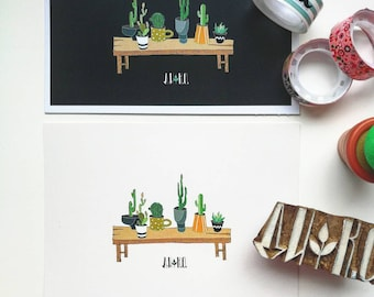 Set of 4 cactus cards. Illustrated Cards. Botanical Cards. Art Postcards. set Botanical Postcards. Watercolor.  Scandinavian style. Nordic