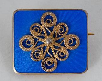 Vintage Pin - Vintage Blue Enamel Sterling Pin