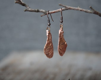 maple seed nature earrings botanical jewelry electroformed copper jewelry birthday gifts boho earrings