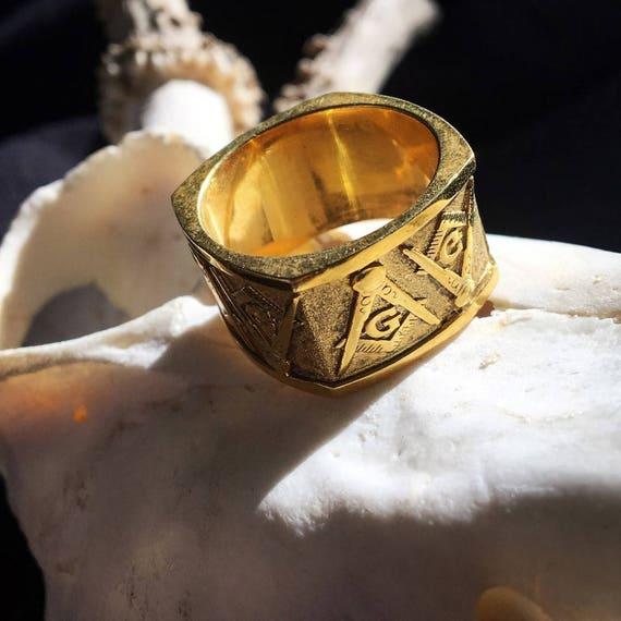 Etherial Jewelry - Rock Chic Talisman Luxury Biker Custom Handmade Artisan Pure Sterling Silver .925 Handcrafted Masonic Compass Badass Ring