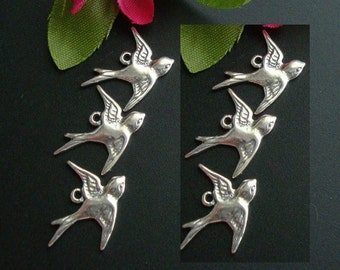 6 facing left like picture, Pure 925 Sterling Silver Lightly Oxidized Victorian style Swallow, flying left sparrow, bird Charms