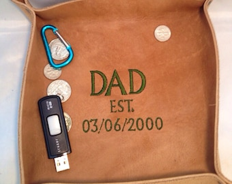 Leather Valet Tray/ Caddy Personalized Gift for Men