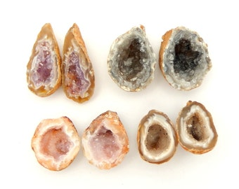 Agate Geode - Natural Occo Agate Geode Pairs Druzy Drusy (RK21B5)