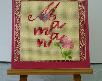 Embroidered MOM happy mother's Day card