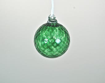 Hand Blown Glass Ornament: Emerald Christmas Ornament (Jewel Collection)